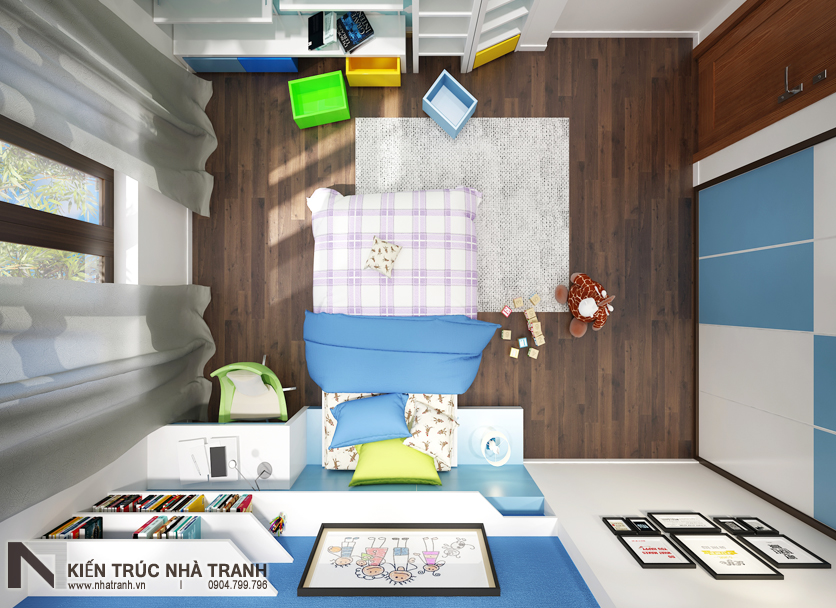Ảnh: Phối cảnh nội thất phòng ngủ con trai 01 mẫu thiết kế nội thất biệt thự hiện đại 3 tầng NT-NB0052