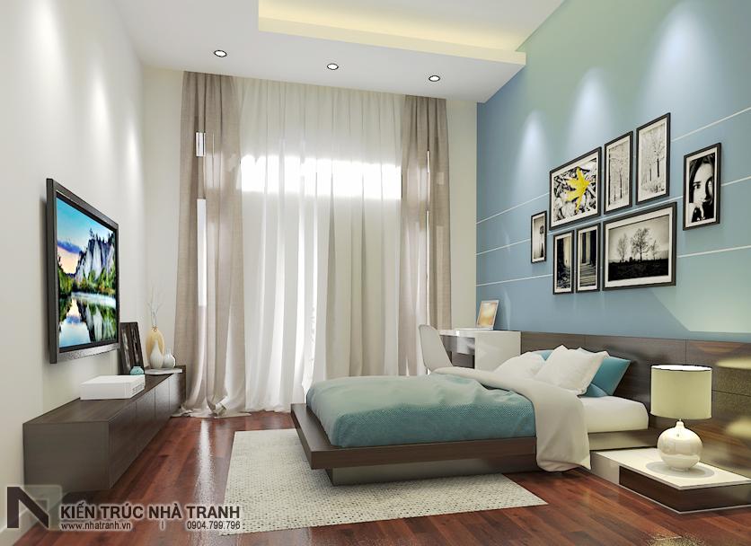Ảnh: Phối cảnh nội thất phòng ngủ khách 02 mẫu thiết kế nội thất biệt thự hiện đại 3 tầng NT-NB0052