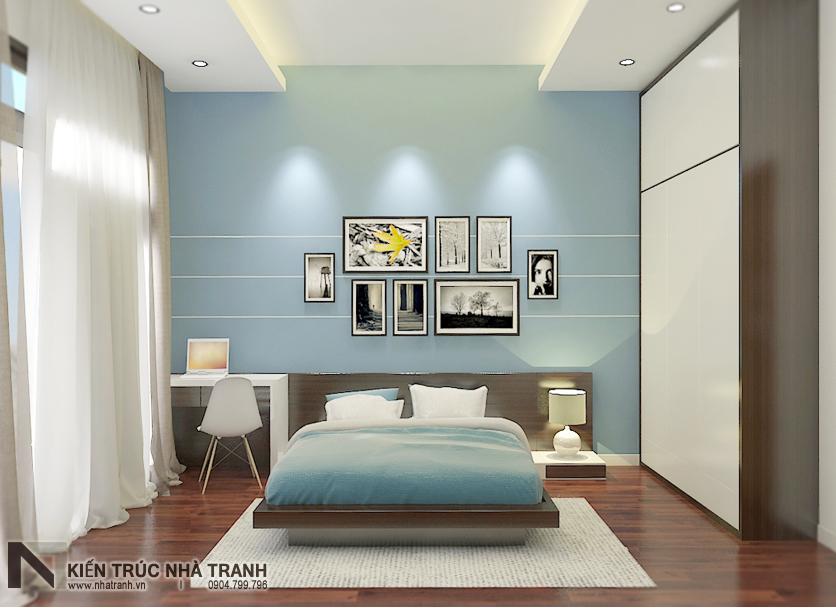 Ảnh: Phối cảnh nội thất phòng ngủ khách 01 mẫu thiết kế nội thất biệt thự hiện đại 3 tầng NT-NB0052