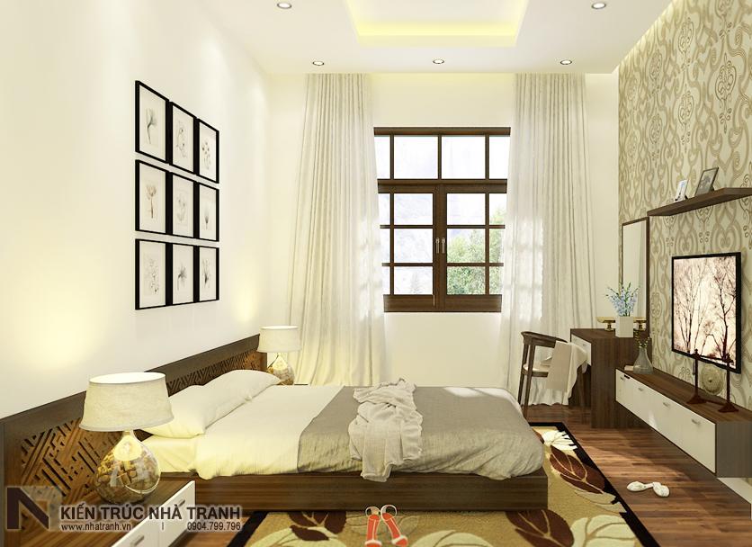 Ảnh: Phối cảnh nội thất phòng ngủ người già 02 mẫu thiết kế nội thất biệt thự hiện đại 3 tầng NT-NB0052