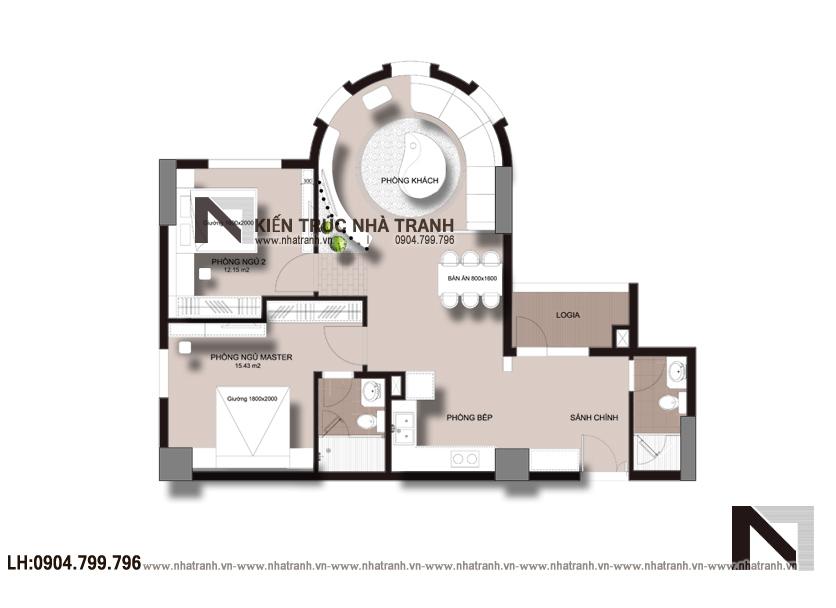 Ảnh: Mặt bằng bố trí nội thất mẫu thiết kế nội thất căn hộ chung cư 90m2 phong  cách hiện đại NT-B0053
