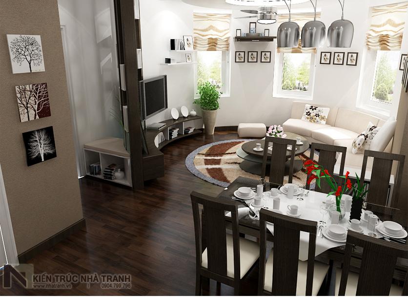 Ảnh: Phối cảnh phòng khách và bếp ăn mẫu thiết kế nội thất căn hộ chung cư 90m2 phong cách hiện đại NT-NC0053