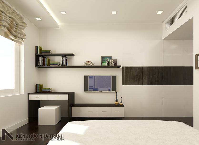 Ảnh: Phối cảnh phòng ngủ bố mẹ mẫu thiết kế nội thất căn hộ chung cư 90m2 phong cách hiện đại NT-NC0053