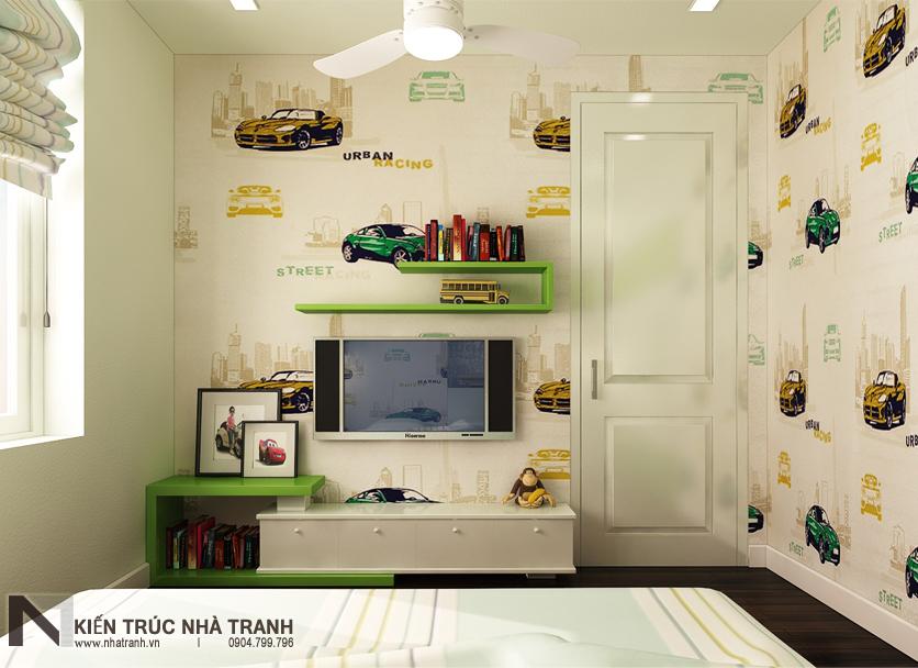 Ảnh: Phối cảnh phòng ngủ con trai mẫu thiết kế nội thất căn hộ chung cư 90m2 phong cách hiện đại NT-NC0053