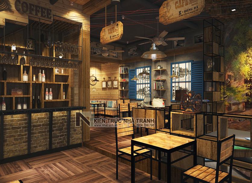Ảnh: Phối cảnh 01 không gian nội thất mẫu thiết kế nội thất quán cafe NT-NN0054