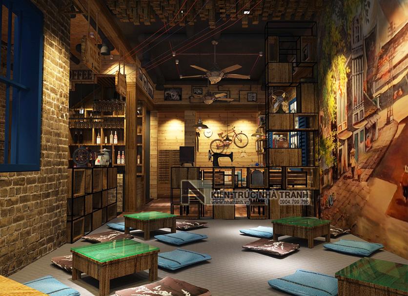 Ảnh: Phối cảnh 03 không gian nội thất mẫu thiết kế nội thất quán cafe NT-NN0054