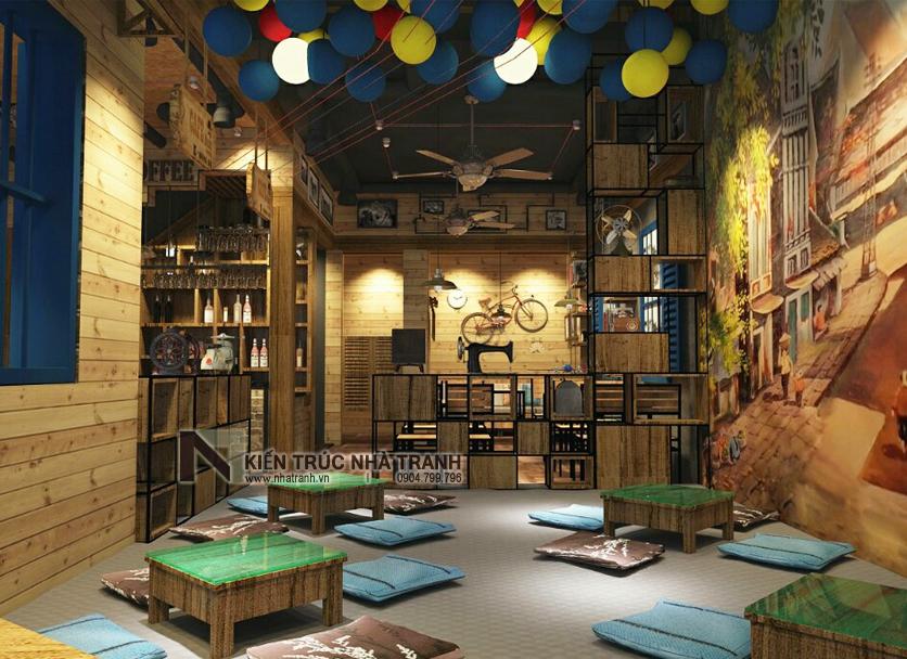 Ảnh: Phối cảnh 07 không gian nội thất mẫu thiết kế nội thất quán cafe NT-NN0054