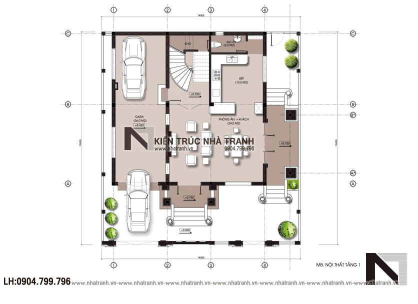 Ảnh: Mặt bằng quy hoạch tổng thể mẫu thiết kế biệt thự phong cách cổ điển 3 tầng NT-B6380