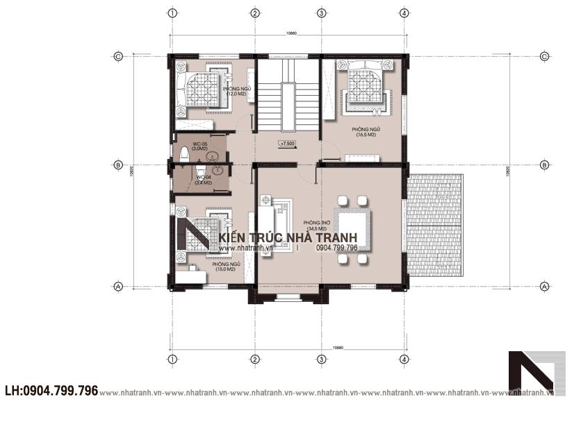 Ảnh: Mặt bằng tầng 2 mẫu thiết kế biệt thự phong cách cổ điển 3 tầng NT-B6380