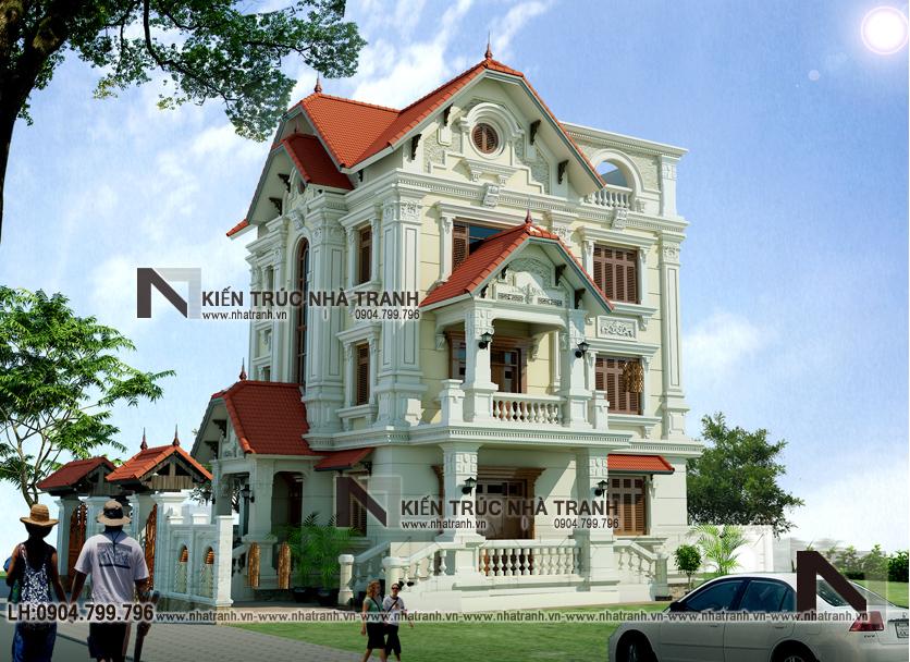 Ảnh: Phối cảnh tổng thể mẫu thiết kế biệt thự phong cách cổ điển 3 tầng NT-B6380