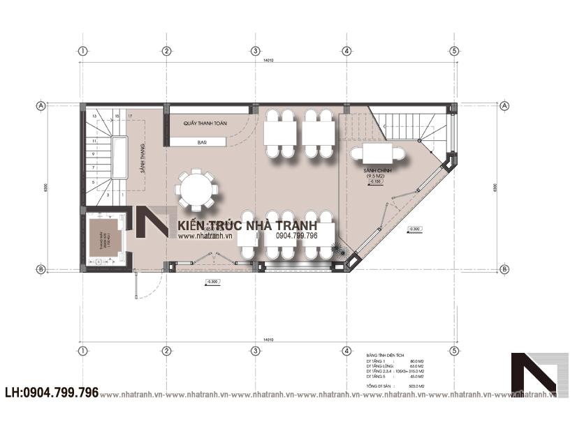 Ảnh: Mặt bằng tầng 1 mẫu thiết kế nhà lô góc 2 mặt tiền 6 tầng phong cách hiện đại NT-L3659
