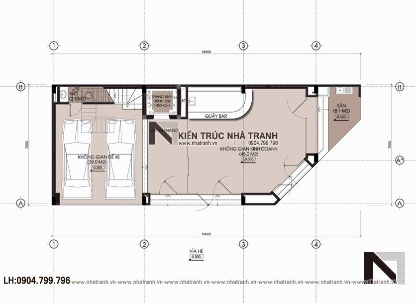 Ảnh: Mặt bằng quy hoạch tổng thể mẫu nhà lô góc hai mặt tiền 6 tầng để ở kết hợp kinh doanh phong cách hiện đại NT-L3663