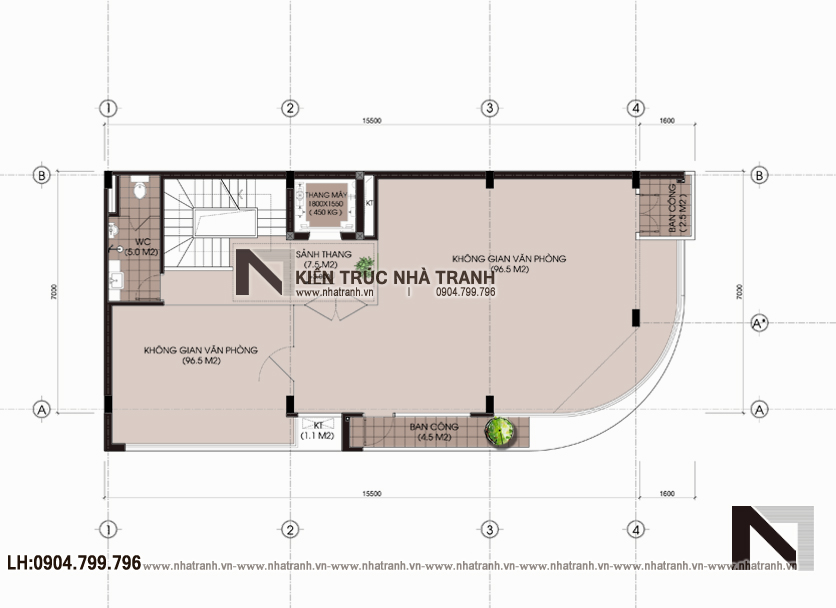 Ảnh: Mặt bằng bố trí nội thất tầng 2 mẫu nhà lô góc hai mặt tiền 6 tầng để ở kết hợp kinh doanh phong cách hiện đại NT-L3663