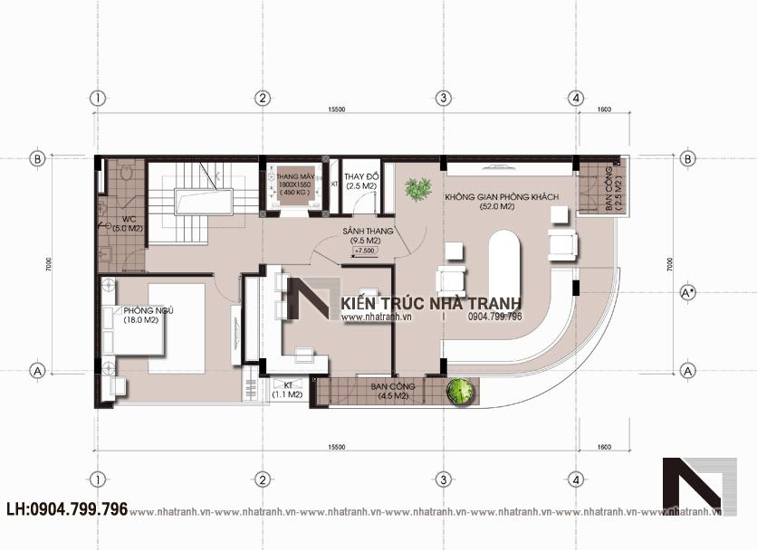 Ảnh: Mặt bằng bố trí nội thất tầng 3 mẫu nhà lô góc hai mặt tiền 6 tầng để ở kết hợp kinh doanh phong cách hiện đại NT-L3663