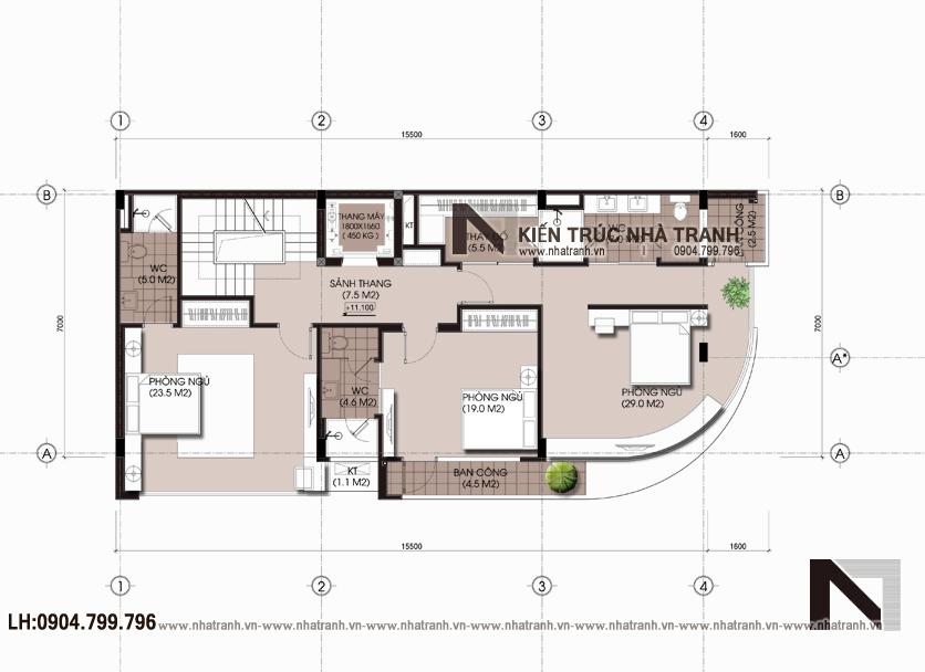 Ảnh: Mặt bằng bố trí nội thất tầng 4 mẫu nhà lô góc hai mặt tiền 6 tầng để ở kết hợp kinh doanh phong cách hiện đại NT-L3663