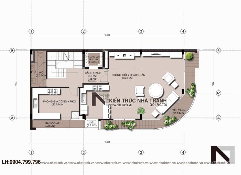 Ảnh: Mặt bằng bố trí nội thất tầng 5 mẫu nhà lô góc hai mặt tiền 6 tầng để ở kết hợp kinh doanh phong cách hiện đại NT-L3663
