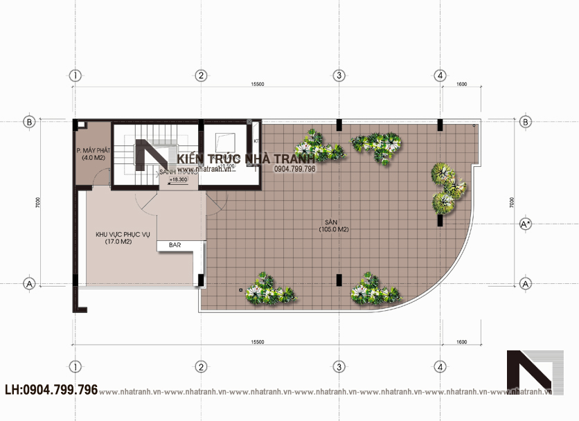 Ảnh: Mặt bằng bố trí nội thất tầng 6 mẫu nhà lô góc hai mặt tiền 6 tầng để ở kết hợp kinh doanh phong cách hiện đại NT-L3663