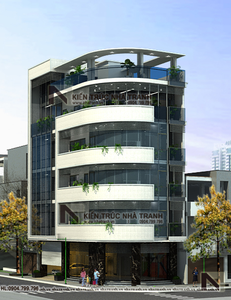 Ảnh: Phối cảnh tổng thể 03 mẫu nhà lô góc hai mặt tiền 6 tầng để ở kết hợp kinh doanh phong cách hiện đại NT-L3663