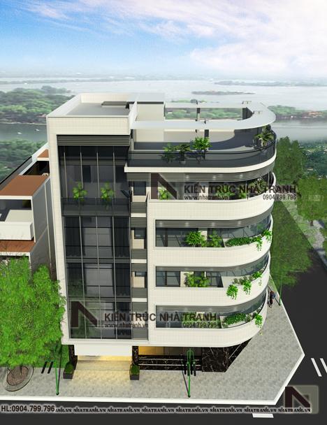 Ảnh: Phối cảnh tổng thể 02 mẫu nhà lô góc hai mặt tiền 6 tầng để ở kết hợp kinh doanh phong cách hiện đại NT-L3663