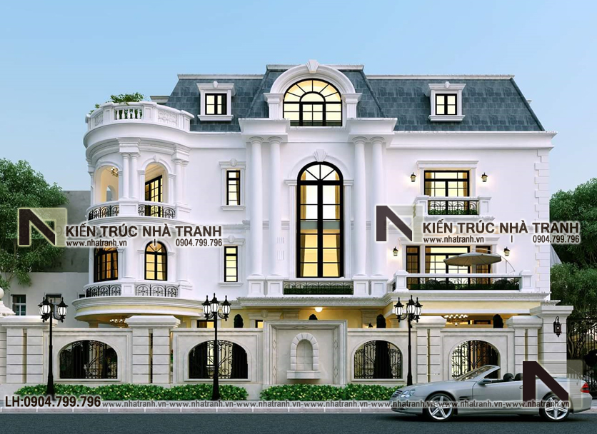 Ảnh: Phối cảnh tổng thể 04 mẫu cải tạo nhà lô góc 2 mặt tiền 4 tầng kiến trúc Pháp NT-L3664
