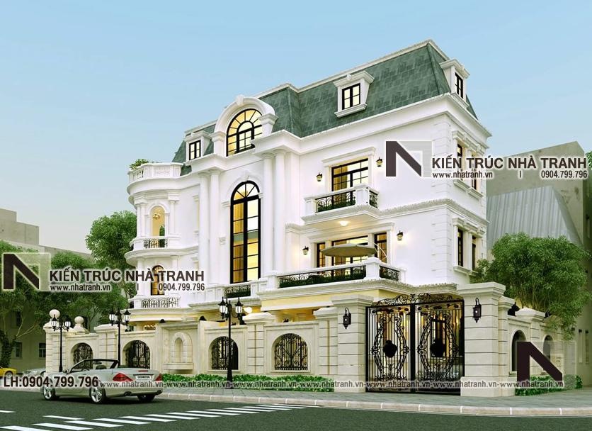Ảnh: Phối cảnh tổng thể 05 mẫu cải tạo nhà lô góc 2 mặt tiền 4 tầng kiến trúc Pháp NT-L3664