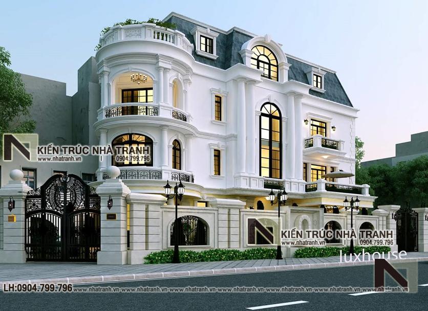 mẫu thiết kế nhà lô góc 2 mặt tiền 4 tầng kiến trúc Pháp