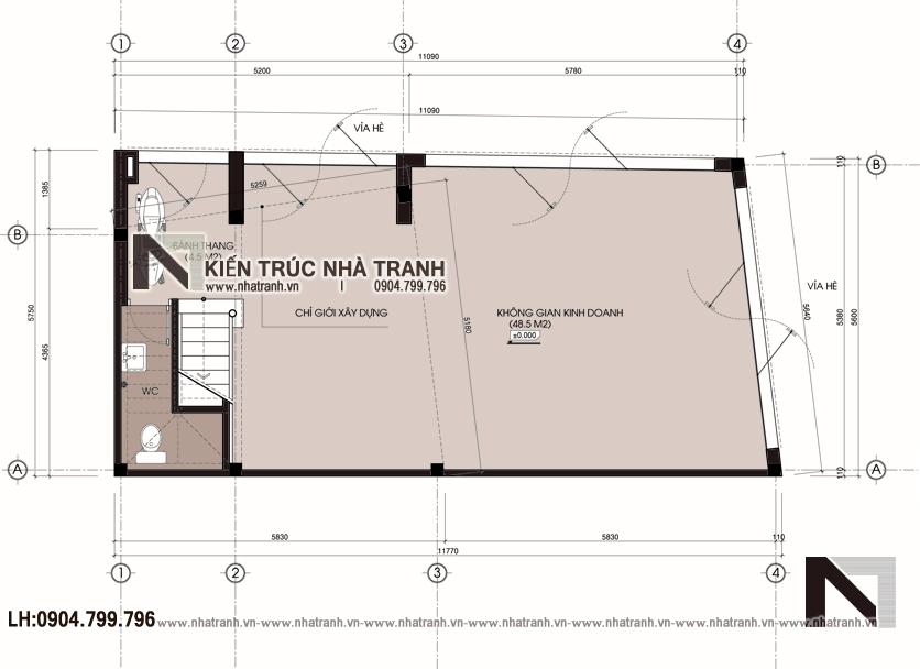 Ảnh: Mặt bằng quy hoạch tổng thể mẫu nhà lô góc 2 mặt tiền 5 tầng để ở kết hợp kinh doanh phong cách hiện đại NT-L3667
