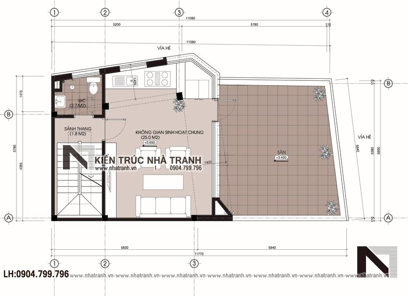 Ảnh: Mặt bằng tầng 2 mẫu nhà lô góc 2 mặt tiền 5 tầng để ở kết hợp kinh doanh phong cách hiện đại NT-L3667