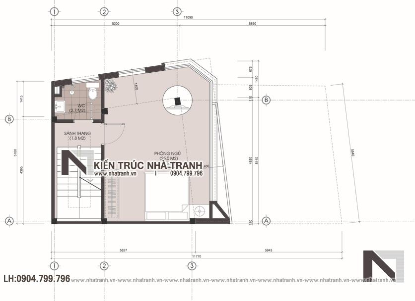 Ảnh: Mặt bằng tầng 4 mẫu nhà lô góc 2 mặt tiền 5 tầng để ở kết hợp kinh doanh phong cách hiện đại NT-L3667