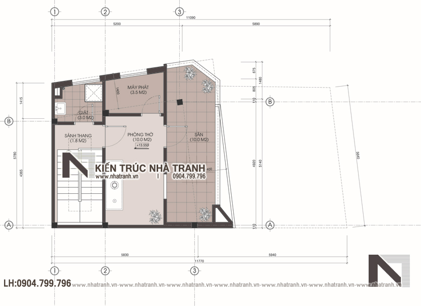 Ảnh: Mặt bằng tầng 5 mẫu nhà lô góc 2 mặt tiền 5 tầng để ở kết hợp kinh doanh phong cách hiện đại NT-L3667