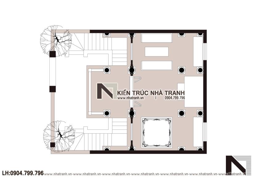 Ảnh: Mặt bằng chi tiết tầng 2 mẫu thiết kế nhà thờ họ 2 tầng NT-B6381