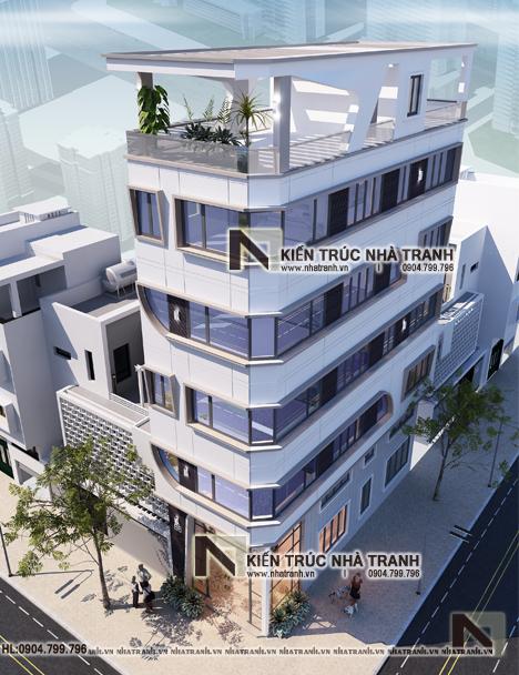 Ảnh: Phối cảnh tổng thể mẫu nhà lô góc hai mặt tiền 6 tầng kinh doanh nhà nghỉ NT-L3668