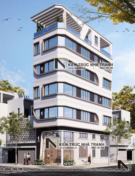 thiết kế nhà lô góc hai mặt tiền 6 tầng