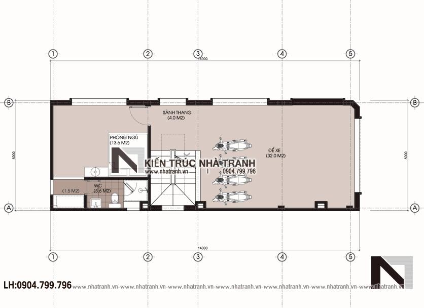 Ảnh: Mặt bằng quy hoạch tổng thể mẫu nhà lô góc hai mặt tiền 6 tầng kinh doanh nhà nghỉ NT-L3668