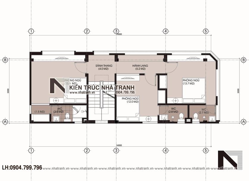 Ảnh: Mặt bằng tầng 2,3,4,5,6 mẫu nhà lô góc hai mặt tiền 6 tầng kinh doanh nhà nghỉ NT-L3668