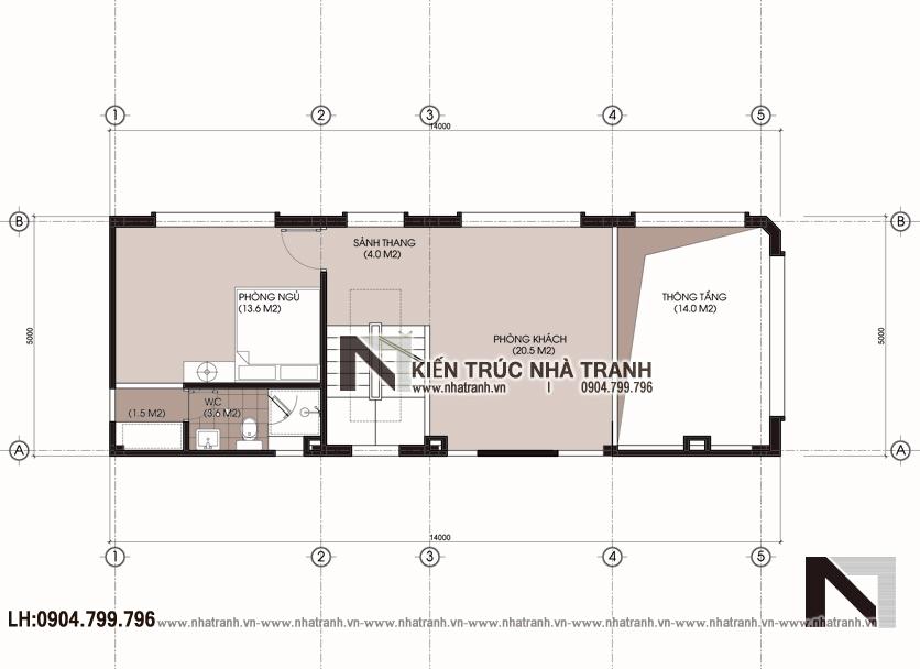 Ảnh: Mặt bằng tầng lửng mẫu nhà lô góc hai mặt tiền 6 tầng kinh doanh nhà nghỉ NT-L3668