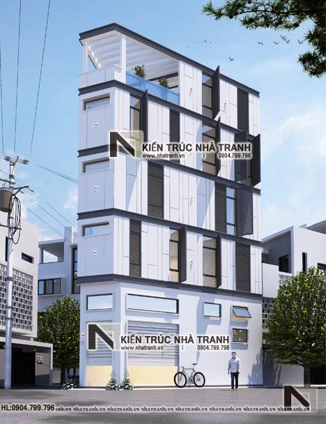 Ảnh: Phối cảnh tổng thể 02 mẫu nhà lô góc 3 mặt tiền 6 tầng hiện đại trên đất hình thang NT-L3670