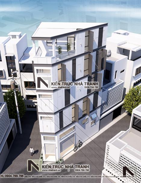 Ảnh: Phối cảnh tổng thể mẫu nhà lô góc 3 mặt tiền 6 tầng hiện đại trên đất hình thang NT-L3670