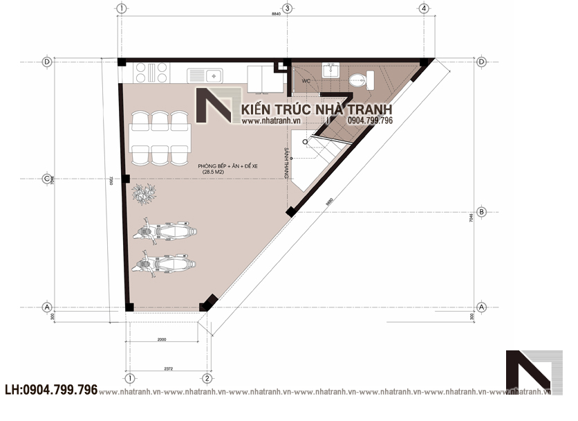 Ảnh: Mặt bằng tầng 1 mẫu mẫu nhà lô góc 3 mặt tiền 6 tầng hiện đại trên đất hình thang NT-L3670