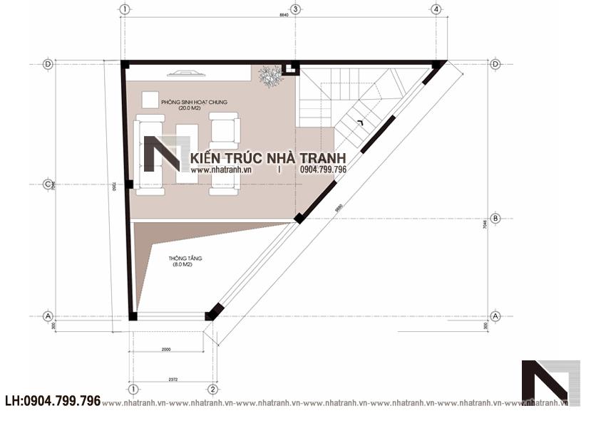 Ảnh: Mặt bằng tầng 2 mẫu mẫu nhà lô góc 3 mặt tiền 6 tầng hiện đại trên đất hình thang NT-L3670