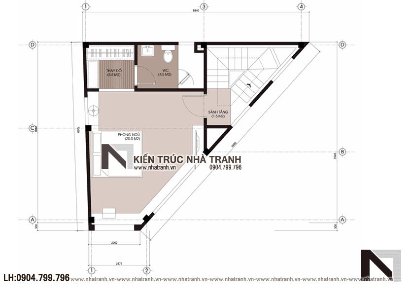 Ảnh: Mặt bằng tầng 3 mẫu mẫu nhà lô góc 3 mặt tiền 6 tầng hiện đại trên đất hình thang NT-L3670