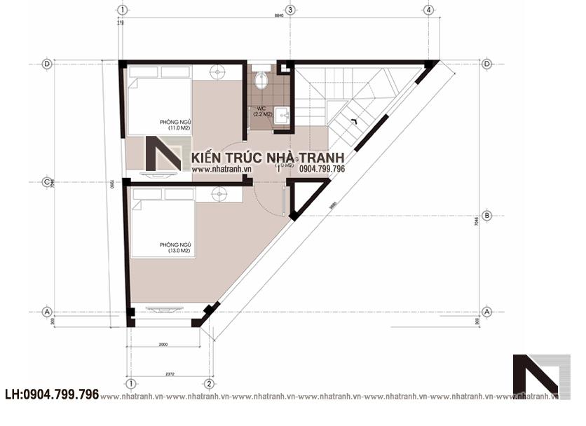 Ảnh: Mặt bằng tầng 4 mẫu mẫu nhà lô góc 3 mặt tiền 6 tầng hiện đại trên đất hình thang NT-L3670