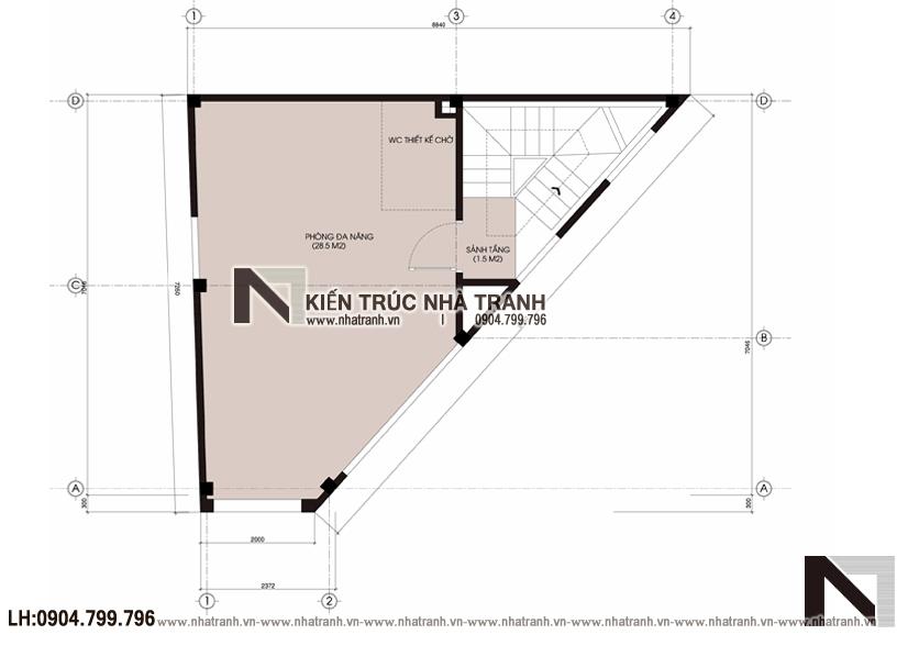 Ảnh: Mặt bằng tầng 5 mẫu mẫu nhà lô góc 3 mặt tiền 6 tầng hiện đại trên đất hình thang NT-L3670