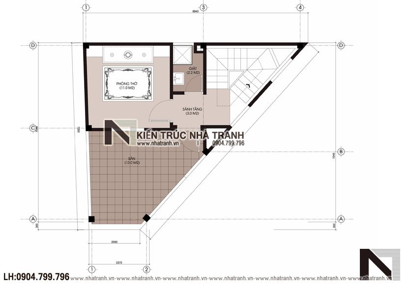Ảnh: Mặt bằng tầng 6 mẫu mẫu nhà lô góc 3 mặt tiền 6 tầng hiện đại trên đất hình thang NT-L3670
