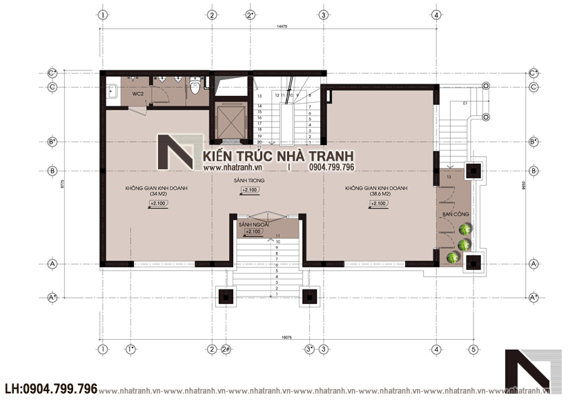 Ảnh: Mặt bằng tầng 01 mẫu biệt thự lô góc 2 mặt tiền 4 tầng phong cách tân cổ điển NT-L3669