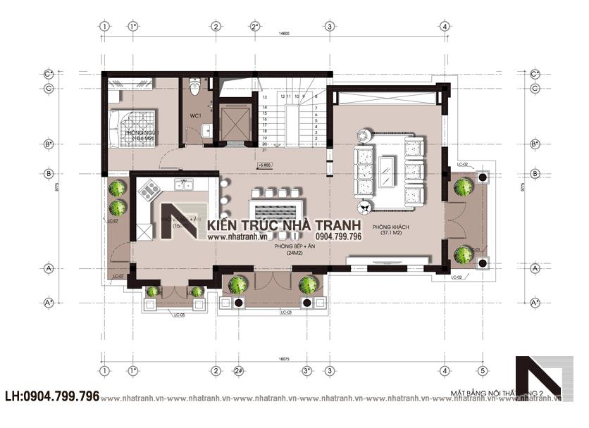 Ảnh: Mặt bằng tầng 02 mẫu biệt thự lô góc 2 mặt tiền 4 tầng phong cách tân cổ điển NT-L3669