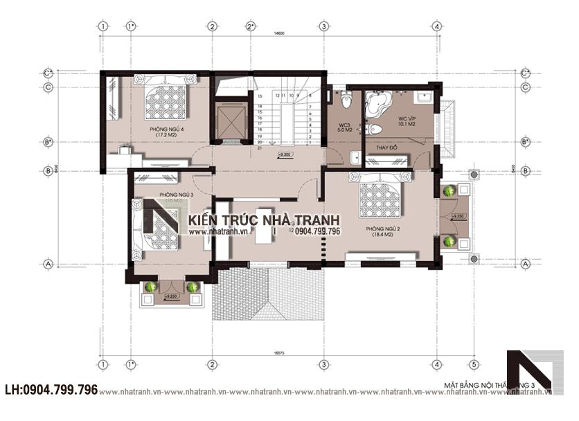 Ảnh: Mặt bằng tầng 03 mẫu biệt thự lô góc 2 mặt tiền 4 tầng phong cách tân cổ điển NT-L3669