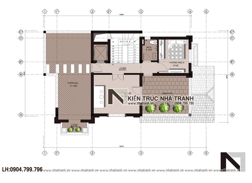 Ảnh: Mặt bằng tầng 04 mẫu biệt thự lô góc 2 mặt tiền 4 tầng phong cách tân cổ điển NT-L3669