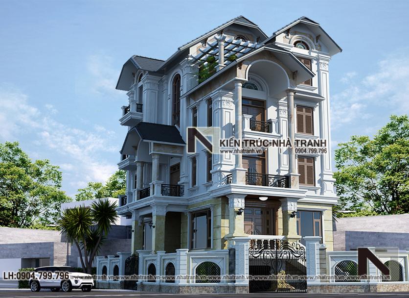 mẫu biệt thự lô góc 2 mặt tiền 4 tầng tân cổ điển - thiết kế nhà lô góc