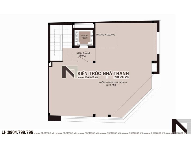 Ảnh: Mặt bằng tầng 02 mẫu thiết kế nhà lô góc 2 mặt tiền 6 tầng để ở kết hợp kinh doanh NT-L3671